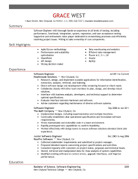 resume examples software engineer resume sample with summary and skill highlights or experience as software