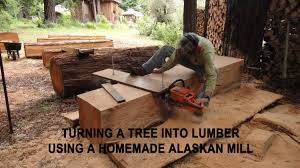 how to turn a tree into lumber using a homemade alaskan mill walden labs
