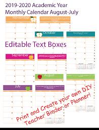 2020 Calendar Editable Editable 2019 2020 Teacher Monthly Academic Calendar Download