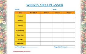 Weight Loss Menu Planner Template Meal Planner Template In 2019 Meal Planner Template Meal