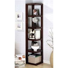 Stylish, Contemporary Corner Bookshelf/Display Case in Wood w Cappuccino  Finish