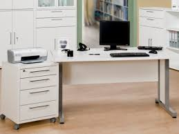 office desk computer. Harmony Rectangular Office Desk In Matt White Finish With Paneled Silver Metal Feet By Maja Computer