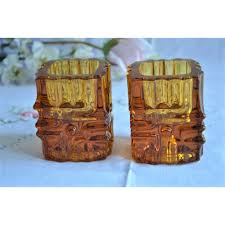 czech design 1960 s amber glass candle holders
