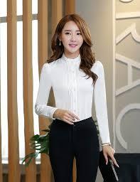 Female Office Shirt Designs Women Autumn Stand Collar Fashion Office Shirt