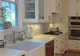 quartz countertop white cabinet kitchen backsplash tile