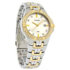 pulsar men s pxda86 crystal accented dress two tone stainless pulsar men s pxda86 crystal accented dress two tone stainless steel watch