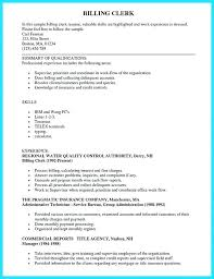 Billing Clerk Resume Inspiration Medical Billing Resume Datainfo