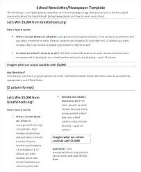 Newspaper Front Template School Newspaper Template Free Middle Front Page 4 Column