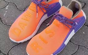 chanel x pharrell adidas. orange and purple featured on unreleased pharrell adidas nmd chanel x