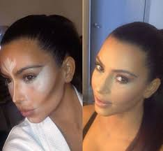 kim kardashian tweeted out pictures of her makeup contouring trick in progress e see the magic