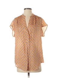 Details About Massimo Dutti Women Orange Short Sleeve Blouse S
