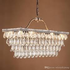 contemporary modern crystal chandelier light e14 bulb socket k9 crystal rectangular chandelier pendant lamp for modern home decoration antique rectangular