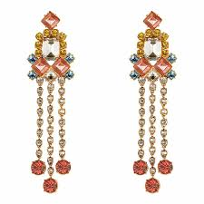 mawi rose gold multicolour barbarella chandelier earrings