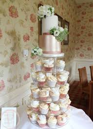 Rose Gold And Ivory Wedding Cupcake Tower And 2 Tier Cake For Katie