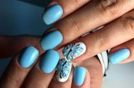 Blue Gel Nail Design 2018 2019 Photo Ideas Manicure Fashionable Style