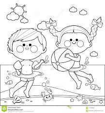 Bambini Che Nuotano Nel Mare Pagina In Bianco E Nero Del Libro Da