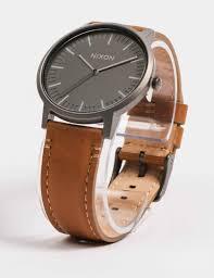 nixon porter leather watch metal charcoal taupe