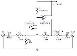 schematic wiring diagram cable tv amplifier using 2 transistor cable tv amplifier using 2 transistor