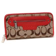 Coach Zip In Monogram Large Red Wallets DUL