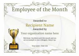 Employee Of The Month Trophy Employee Of The Month Certificate Free Well Designed Templates