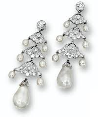natural pearl and diamond chandelier earrings