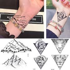 Us 042 10 Offrejaski Cute Hands Mountain Tattoo Stickers Men Wrist Geometric Wave Tiger Temporary Tattoo Women Body Ankle Women Fake Tatoos In
