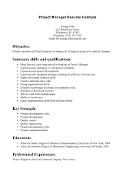 Project Manager Resume Objectives Cover Letter Objective Operations