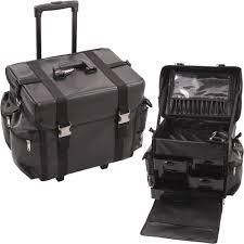 sunrise c6050 soft side trolley leather like rolling makeup train case