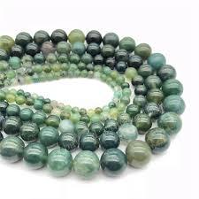 Natural Stone <b>Moss Grass</b> Agate Round Loose <b>Beads</b> Jewelry ...