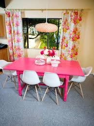 Floral Dining Room Chairs Photos Hgtv Hot Pink Dining Table With Floral Curtains Iranews