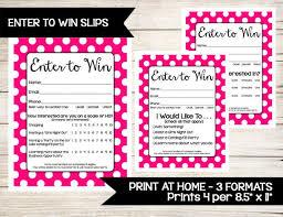 Enter To Win Raffle Ticket Drawing Slip Door Prize Form Guest Survey Contest Entry Sheet Direct Sales Vendor