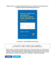 Digital Design Using Verilog Hdl Digital Computer Arithmetic Datapath Design Using Verilog