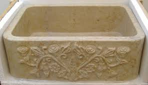 rosalia stone farmhouse sink with hand carved front a treasuresdeoldmexico com