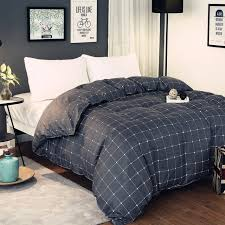 super popular simple gray black plaid pattern polyester bedding 1 piece duvet cover with zipper quilt