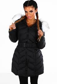 central park black faux fur trim belted puffer coat