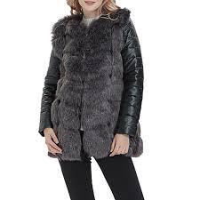 s women faux fur leather jacket long sleeve