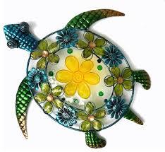acrylic beaded flower sea turtle wall decor