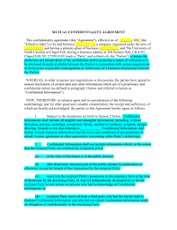 Mutual Nondisclosure Agreement - The University Of North Carolina