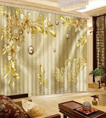 Europäischen Druck Vorhänge Vorhänge Gold Luxus Vorhang Für Fenster