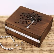 personalised wooden tree design jewellery box