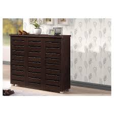 shoes storage furniture. adalwin modern and contemporary 3door wooden entryway shoes storage cabinet dark brown baxton studio furniture