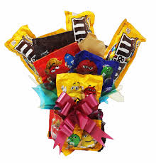 chocolate candy bouquet made from m m s