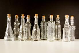 Small Decorative Glass Bottles Decorative Clear Glass Bottles with Corks 60 tall Set 2
