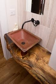 small powder room sinks powder room craftsman with copper sink live edge image by john m reimnitz architect pc