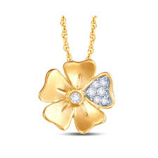 diamond set flower necklace 0 07ct 1
