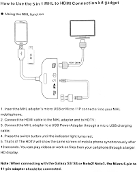 in mhl to hdmi connection kit micro pin to pin package contents 1 x adapter 1 x connector 1 x user manual