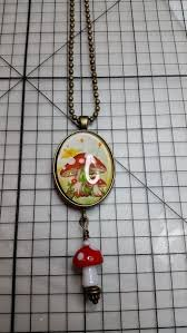 details about bronze mushroom pendant necklace and lamp class bead us er