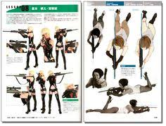 drawing gun knife bat poses style graphics reference book anime books