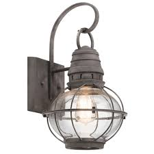 kichler 49628wzc bridge point nautical weathered zinc outdoor um wall sconce light loading zoom