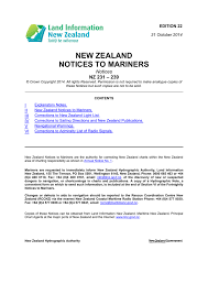 New Zealand Notices To Mariners Notices 239